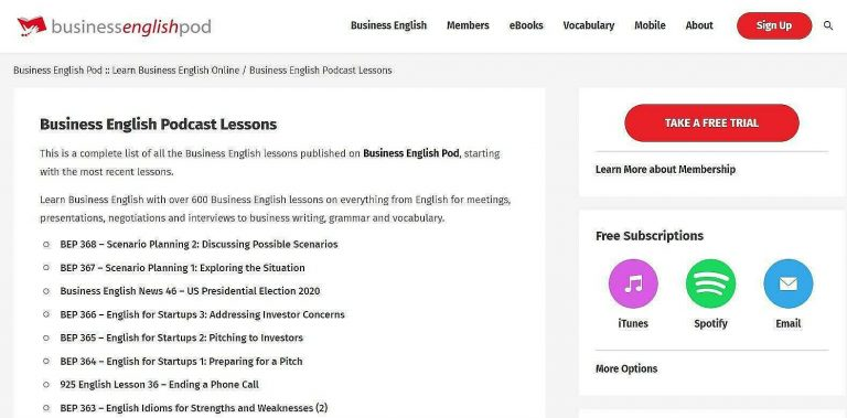 business english podcast lessons
